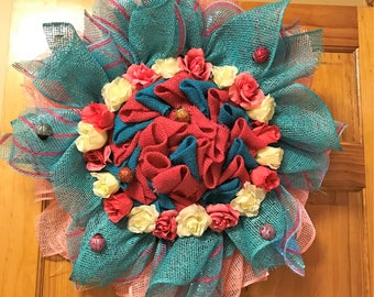 Beautiful Poly Burlap and Deco Mesh Flower Wreath