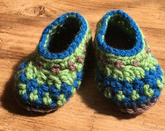 "Crochet Galilee Baby Booties ""Forest"" (size 3-6 months)"
