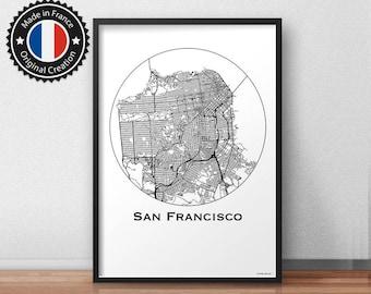 Map of San Francisco USA Map Minimalist poster | City map, city Poster, wall decor, map, print of Art. MP0087