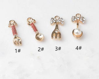 Golden Metal Fork Spoon Charms Cooking Theme Pendant,Crystal Fork Charm,Pearl Spoon Charms for Necklace Bracelet Accessories