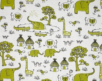white fabric SAFARI American patchwork Fabric Editions