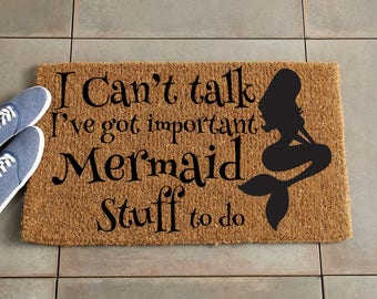 Mermaid Doormat/Funny Doormat/Custom Doormat/Custom Welcome Mat/Personalized Doormat/Personalized Welcome Mat/Door Mat/housewarming gift