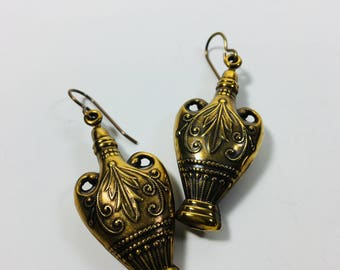 Beautiful Brass Puffy 3-D Vase Earrings by Ten Dollar Studio where all items are always Ten Dollars