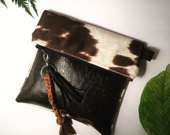 Ostrich leather and Cowhide clutch