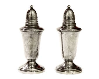 Salt And Pepper Shakers, Sterling Crown Shakers Set, Silver Weighted Shaker Set, Tall Elegant Spices Shakers, Antique 40s, Retro Home Decor
