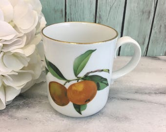 Royal Worcester Evesham Fruits Tea Coffee Cup Mug Oranges Plumbs Grapes Vintage Fine Bone China Porcelain Made in England