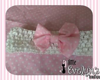 Pink/White Dot Bow Hair Band for Infant/Child