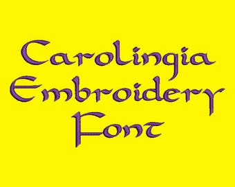 Celtic Style Font - Carolingia Embroidery Font In Four Sizes 0.5, 1, 2 & 3 inch - Instant Download!