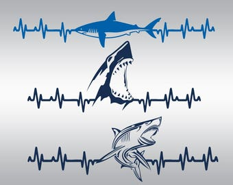 Shark svg, Shark silhouette, Shark Clipart, Heartbeat svg, Jaws svg, Shark vector, Fish svg, Cricut, Cameo, Clipart, Svg, DXF, Png, Pdf, Eps