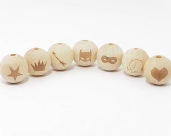 raw wood round beads featuring natural 20mm