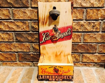 Rustic leinenkugels Bottle Opener with Replica Beer ad