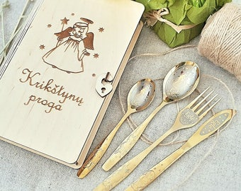 gift baby christening gift custom engraved gift table set in wood box  Personalized Engraved gift for children cutlery for children engraved