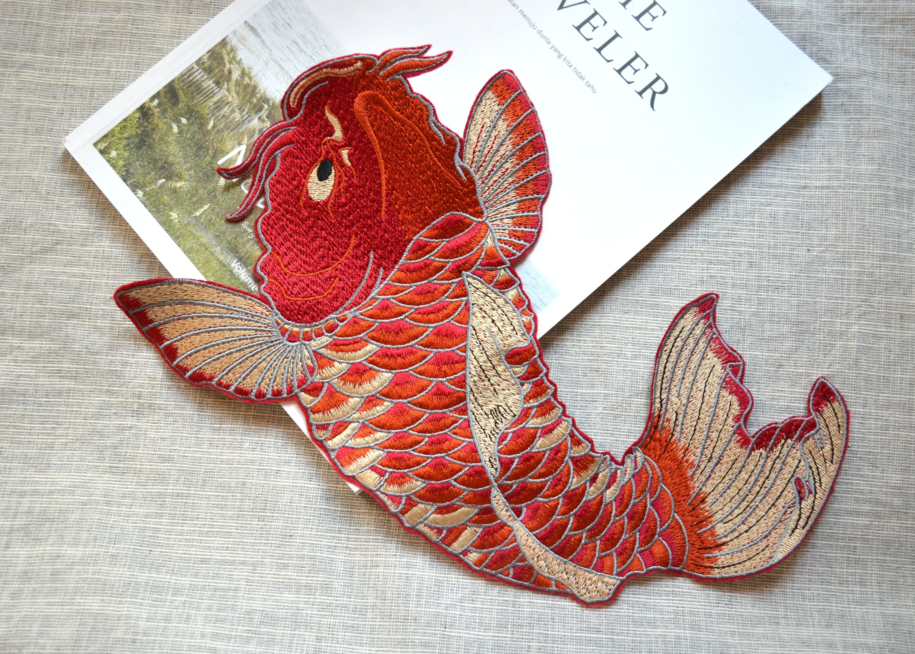 Big red carp embroidery patch large red koi fish sew on for Red koi fish