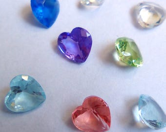 12 floating for medallions, hearts glass multicolored 5x5mm