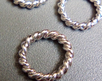 5 connectors rings silver twist 12mm