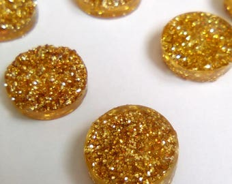 5 cabochon round 12mm golden yellow druzy resin
