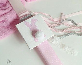 Ready to ship lambada mint polka dot easter candle cute ready to ship pink easter candle cute polka dot bunny with pompon tail greek negle Gallery