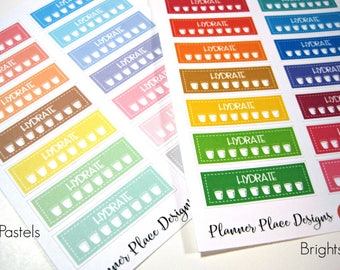 Hydrate Stickers - Daily Water Intake - Planner Stickers - Erin Condren Stickers - Happy Planner Stickers - Functional Stickers