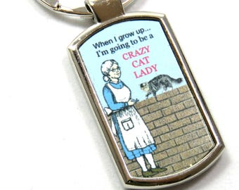 Crazy Cat Lady Keyring, Crazy Cat Lady Keychain, Cat Lovers Gift, Gift for Her.