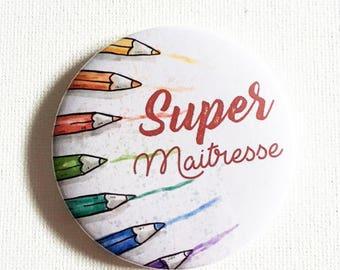 "Magnet with decorative pencil for a super teacher ""Super teacher"""