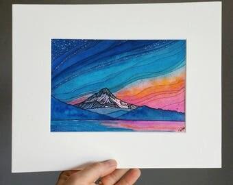 Mt Hood, ORIGINAL watercolor, mountain art, 5x7,Oregon,Portland,landscape art, pen and ink,sunrise,abstract art,illustration,blue,pink,print