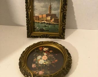 Pair Of Victorian Style Gold Ornate Frames With Prints/ Wall Art Pair