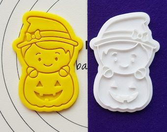 Cute Witch on  the Pumpkin Cookie Cutter and Stamp