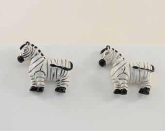 Zebra Stud Earrings