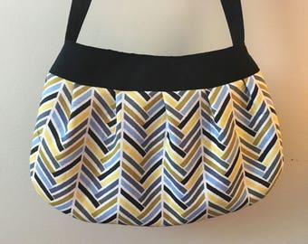 Pleated Fabric Purse, Small - Multi-colour Herringbone - Buttercup bag, cotton, handbag, herringbone, black, green,blue, yellow, small
