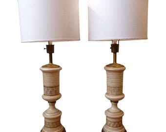 Vintage Regency Frosted White And Gold Table Lamps  Paiar