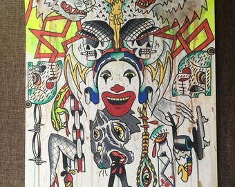 "Untitled  from the series ""Tattoo Flash from the Devils ass"" Mixed media on 11in X 15 in watercolor paper"