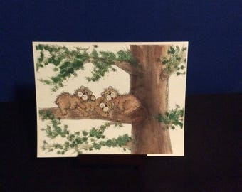 Digital print - Family Picture of Three bears Laying on a Tree, Great for Gift get Personalized to your Family with Names and Birthdays!