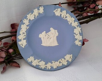 Wedgwood Blue and White Jasperware Ashtray, Made in England