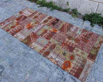 Vintage Patchwork Kilim Rug, Home decor, Hand Made, Vintage Turkish Kilim, Kilim, Kilim Rug
