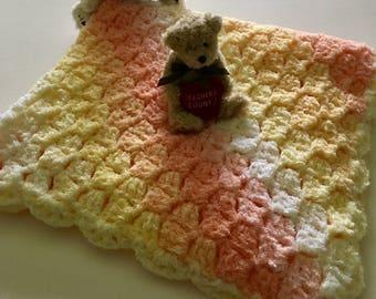 Multi Color Crochet Baby Blanket, Multi Color Crib Blanket, Shaded Baby Afghan, Soft Baby Afghan, Baby Shower Gift,  Crochet Infant Blanket