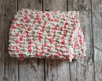 """Cuddly baby blanket, baby, """"doudouce"""" throw, baby blanket, knit baby pink, white, 100% polyester, baby shower, birth gift"""