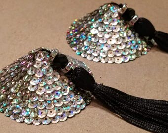 Iridescent Silver Sequined Pasties with Black Tassels