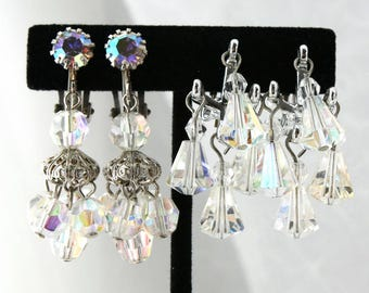 Vintage Aurora Borealis Earrings Lot, Dangle Earrings, Cha Cha , Rhinestone , TheKeepDrawer , Clip Earrings