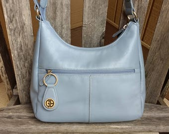 Vintage Giani Bernini Light Blue Leather Handbag Shoulder Bag Purse