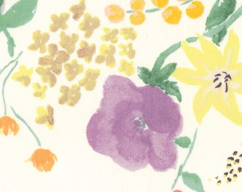 Kokka Fabric - Fuccra Rakuen - Nani Iro - Japanese Cotton Fabric - Phi Phi - Sateen - Floral Fabric - Naomi Ito - White Purple Orange Flower
