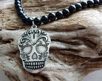 Sugar Skull Necklace,Silver and Black Sugar Skull, Day of the Dead,Mexican Skull Necklace, Onyx Necklace, Silver Sugar Skull