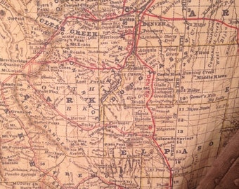Colorado Map minky baby blanket, vintage CO map baby cuddle quilt - or shoulder blanket, wheelchair lap blanket... 28 by 42 inches