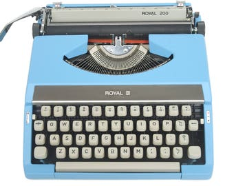 Blue Typewriter - Royal 200 - Fully Working - Custom Painted - Fully Serviced - QWERTY Vintage Typewriter