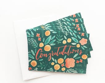 Set of 5 Greeting Cards  - Cute Floral Stationery - Congratulations Cards - Pack of Five Greeting Cards - Congrats Card