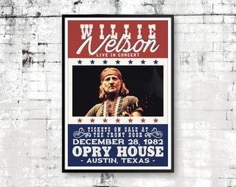 Willie Nelson Art Print, Willie Nelson Poster, Country Music, Willie Nelson Concert Poster, Retro Print