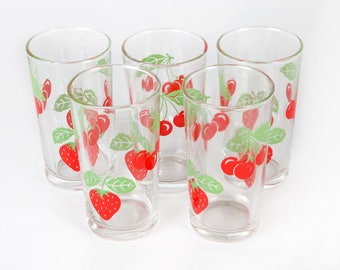 Vintage interior design-Five glasses with strawberries and cherries