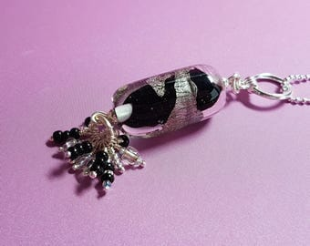 Black and Silver leaf lampwork pendant