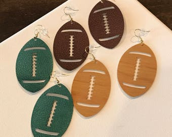 hand made faux leather football earrings/football/foot ball season/football earrings/faux leather