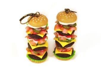 Big Burger earrings, Valentine's Day, Hamburger earrings, Polymer clay earrings, Burger jewelry, miniature food jewelry, Food earrings