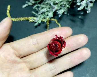 Real Rose Necklace, Real Flower Necklace, Rose Necklace, Real Flower Jewelry, Romantic Gift, Anniversary, Resin jewelry, Clear Necklace